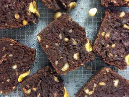 Chocolate banana bread with salted macadamia nuts
