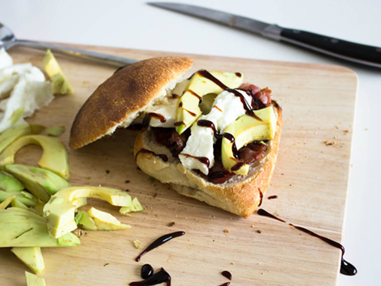 Ciabatta with bacon and avocado