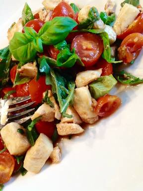 Insalata caprese with baked cherry tomatoes