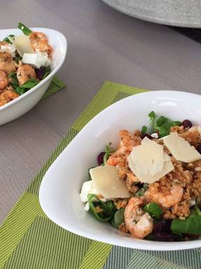 Garlicky walnut shrimp and lamb's lettuce salad