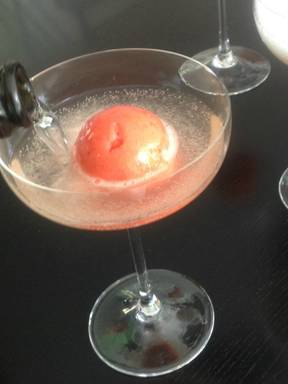 Prosecco with strawberry sorbet