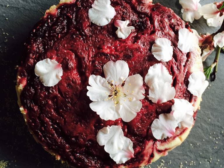 Raspberry-orange cheesecake