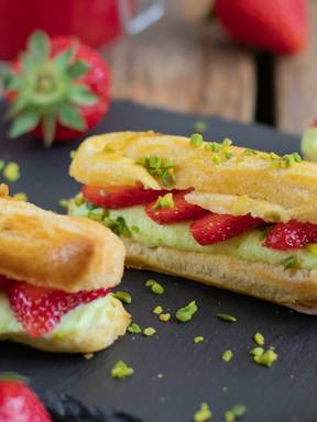 Strawberry and pistachio éclairs