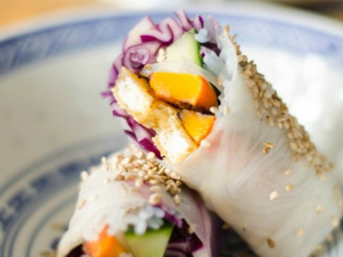 Pumpkin and tofu summer rolls with two dipping sauces