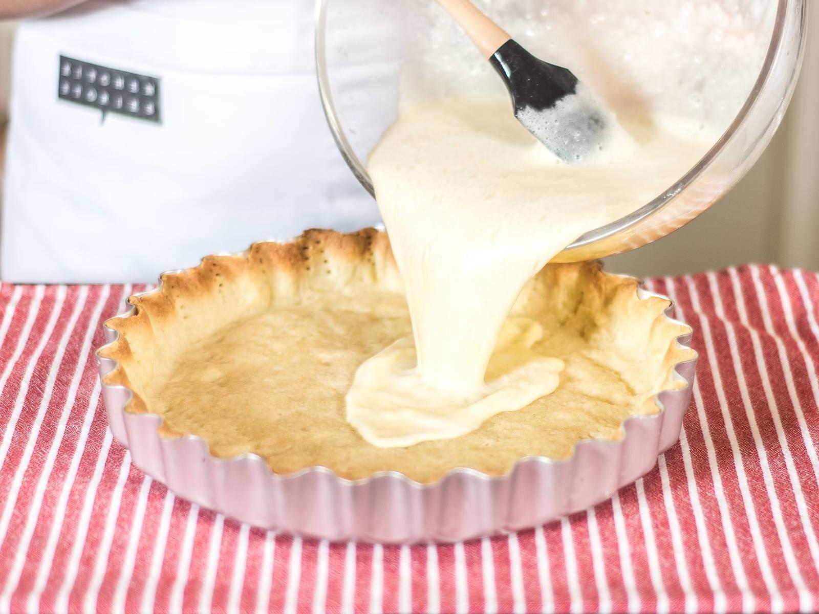 Füllung auf den erkalteten Boden geben und im vorgeheizten Ofen bei 170°C für ca. 30 – 35 Min. backen. Die fertige Tarte auskühlen lassen und für ca. 1 – 2 h kalt stellen. Zum Servieren mit frischer Minze garnieren.