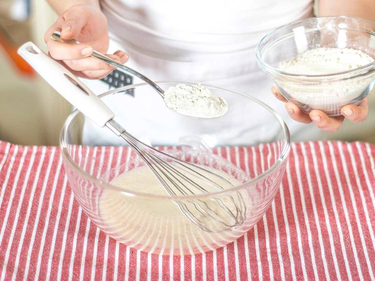 Mix flour, baking powder, and a pinch of salt in a separate bowl and then gently fold into the liquid butter milk mixture. Let stand for approx. 15 – 20 min.