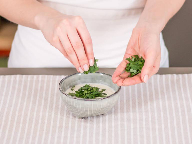 Meanwhile, in a small bowl, stir together yogurt and finely chopped parsley. Add salt and pepper to taste. Serve cauliflower alongside yogurt dip. Enjoy!