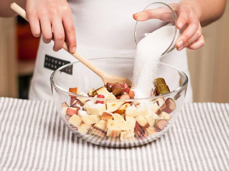 Mix brioche and rhubarb with sugar, vanilla sugar, and a pinch of salt.
