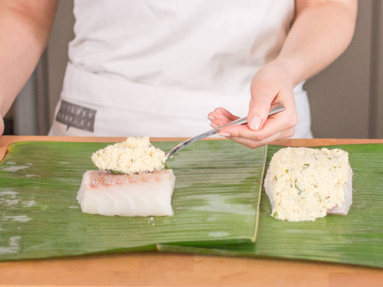 Season each cod fillet with salt and pepper and transfer to the middle of a banana leaf. Cover with coconut mixture.