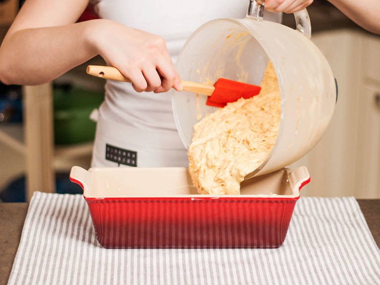 Grease baking pan. Transfer batter into the pan and smooth out the top. Bake in preheated oven at 180°C/355°F for approx. 40 – 50 min. Let rest for approx. 5– 7  min. Then, remove and allow to cool completely on a cake rack for approx. 50 – 60 min.