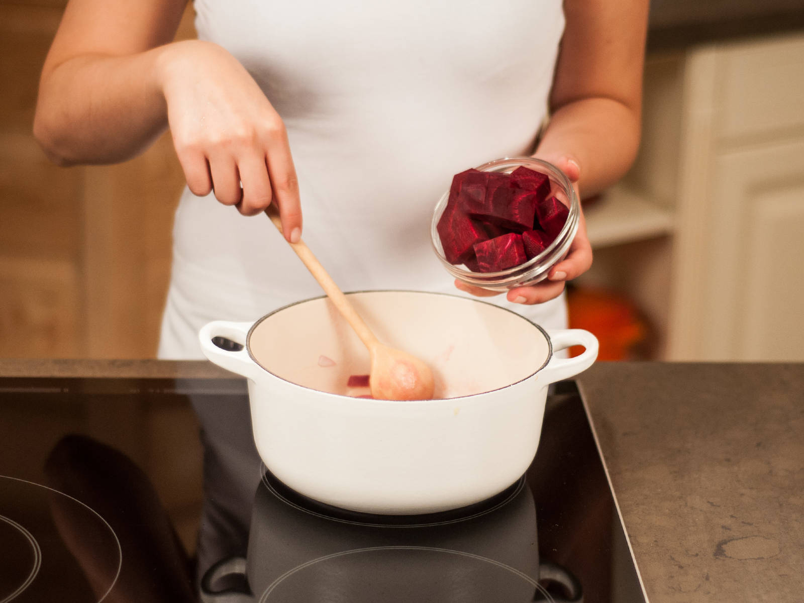 Add butter to a large saucepan. Add onion and garlic and sauté until translucent. Add beet and sauté for approx. 5 – 7 min. Season with salt and pepper.