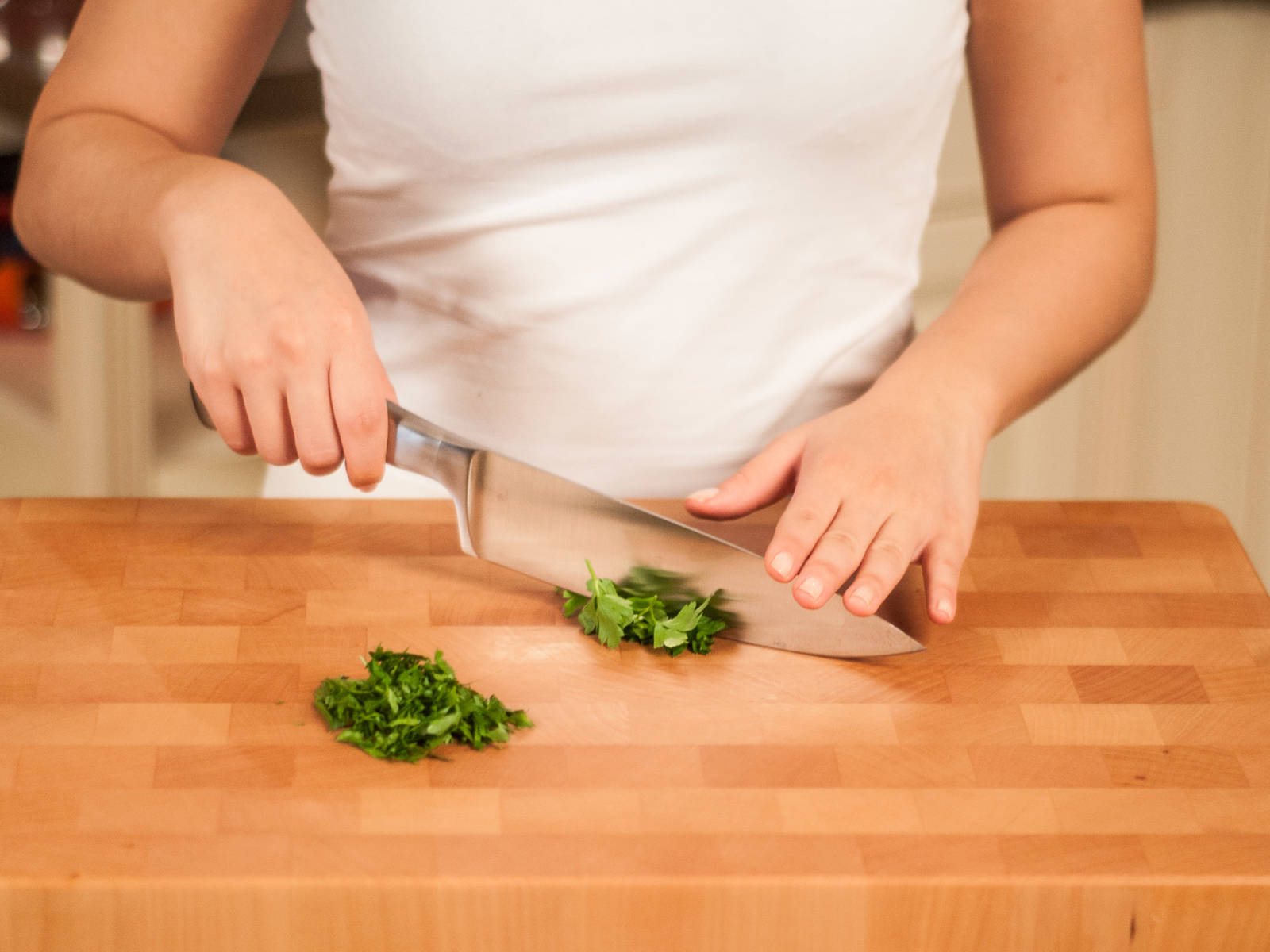 In the meantime chop parsley.