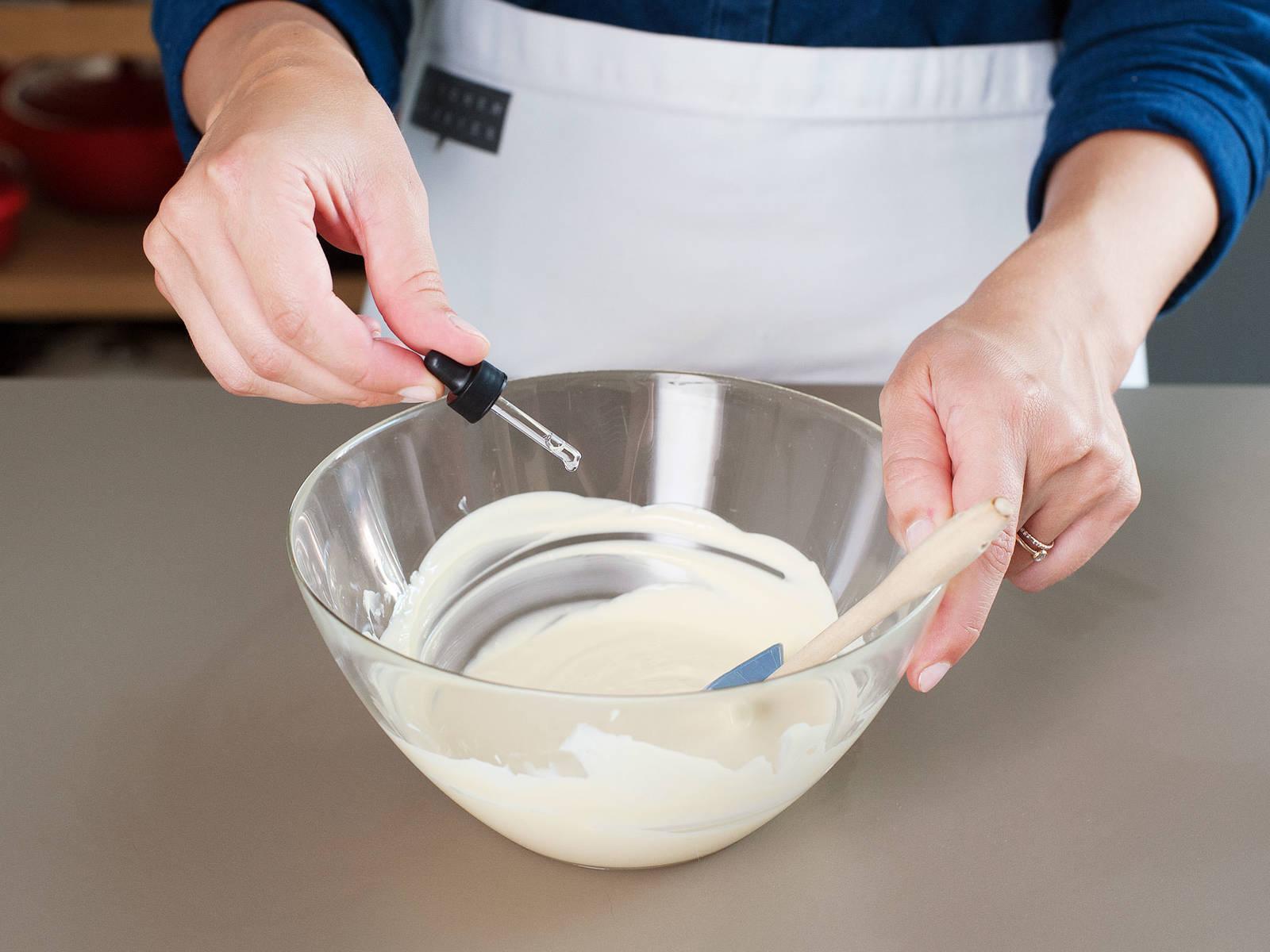In einer sauberen hitzebeständigen Schüssel weiße Schokolade ebenfalls über dem siedenden Wasserbad schmelzen. Vom Herd nehmen und Pfefferminzextrakt unterrühren.