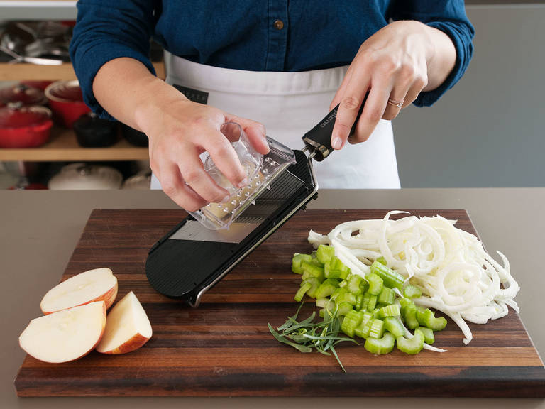 Chop celery stalks into ½-cm/¼-inch pieces. Roughly chop tarragon leaves and mince shallot. Trim and thinly slice fennel bulb with mandolin. Core and slice apples on mandolin, then julienne.