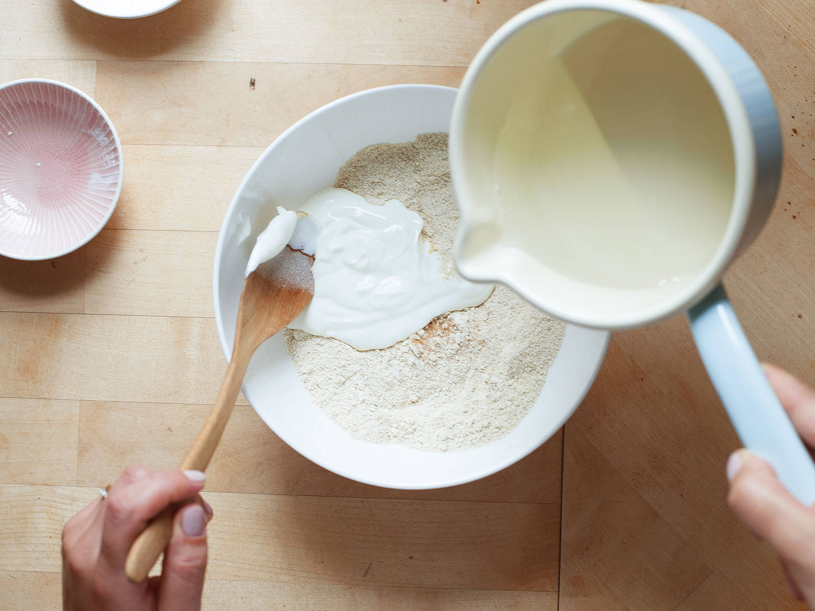 In a large bowl, mix einkorn wheat, baking powder, coconut sugar, and salt. Stir in yogurt and coconut oil and work into a smooth dough with your hands.