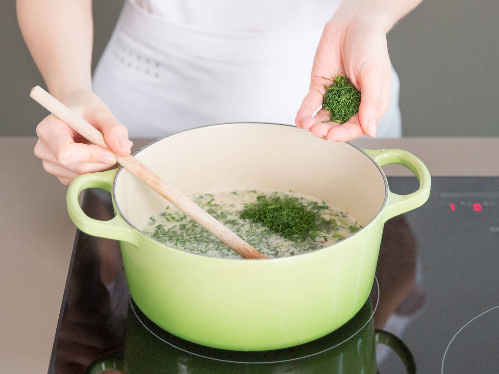 Add clams, parsley, dill, and freshly grated nutmeg to taste. Season to taste with lemon juice, salt, and pepper. Enjoy!