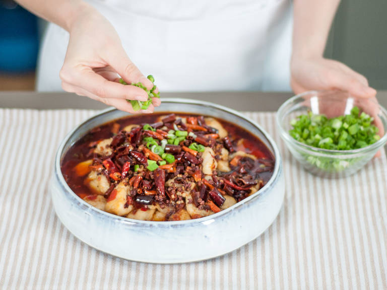Serve in a large bowl, topped with green onions. Enjoy!