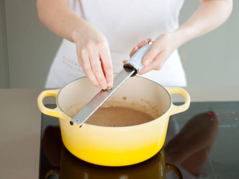 Stir in nutritional yeast, nutmeg, and salt and pepper to taste.