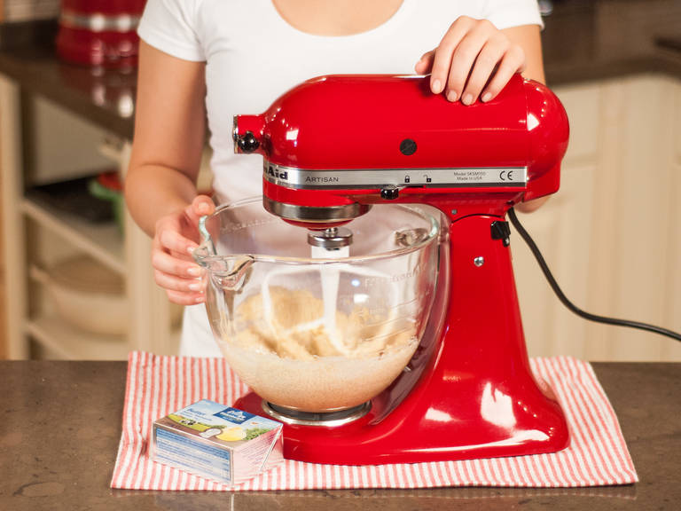 In a standing mixer or with a hand mixer, beat soft butter and brown sugar until pale and foamy.