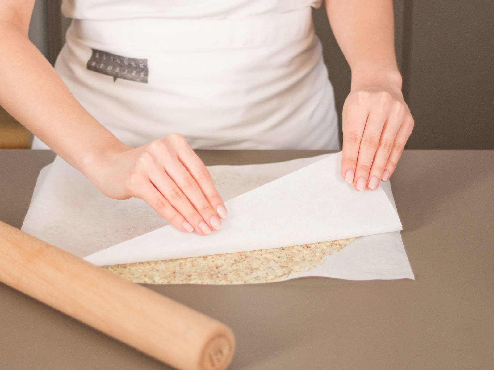 Place dough between two sheets of parchment paper and roll out using a rolling pin. Discard top layer of parchment paper, transfer to a baking sheet, and bake in preheated oven at 180°C/350°F for approx. 15 – 20 min.