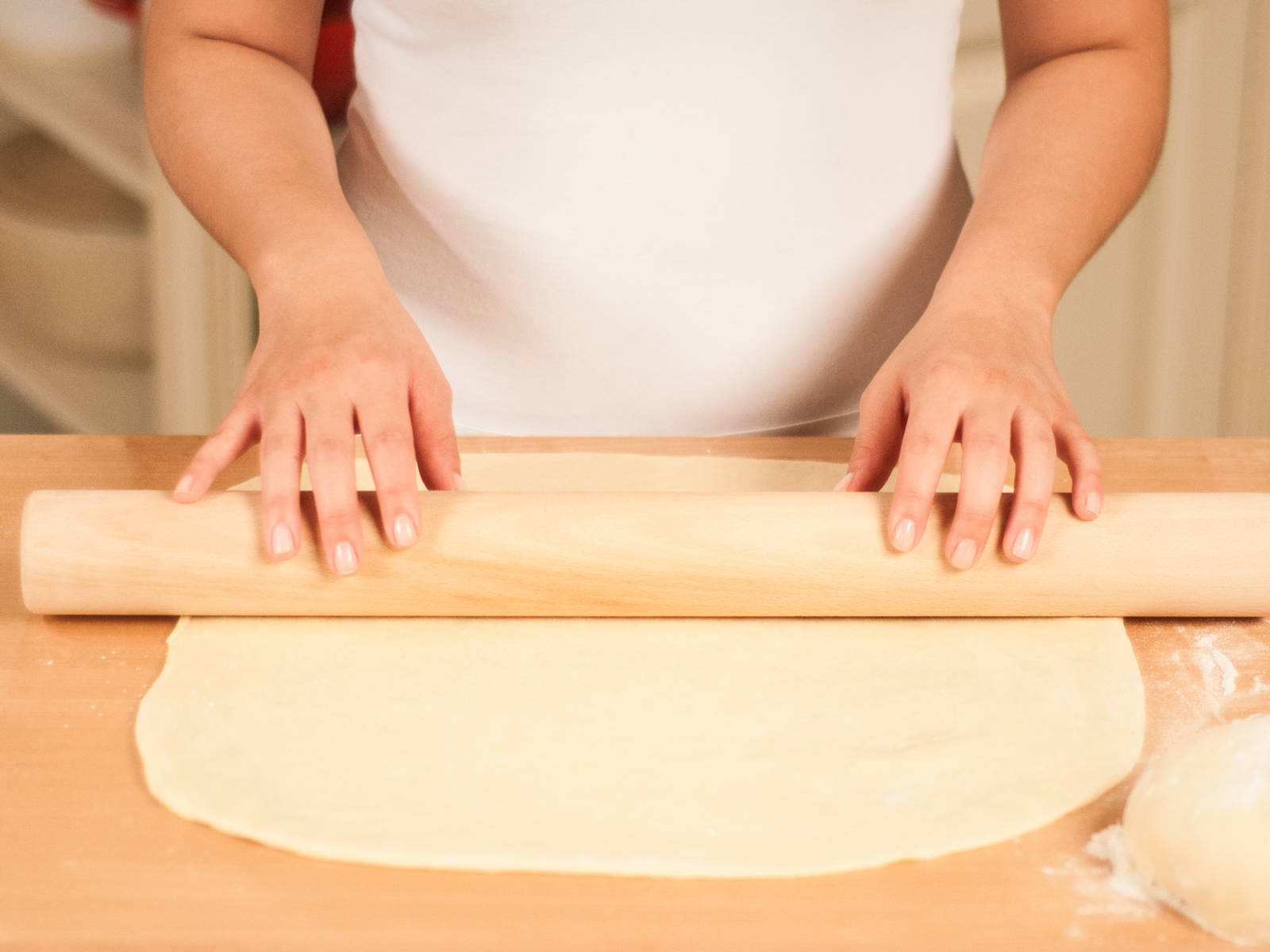 Preheat oven to 190⁰C/375⁰F. Halve the dough and roll each half into the shape of a rectangle, approx. 3 mm thick.