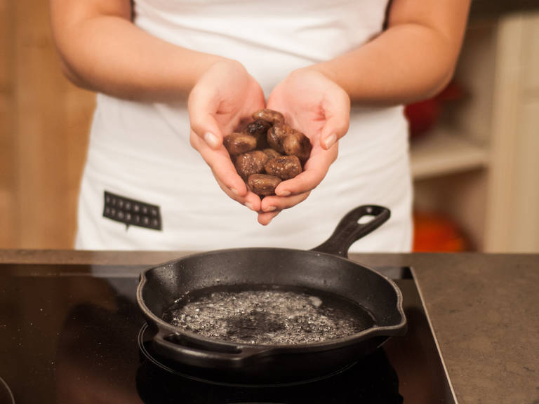 Add chestnuts to frying pan and continue to cook for an additional 3 – 5 min.