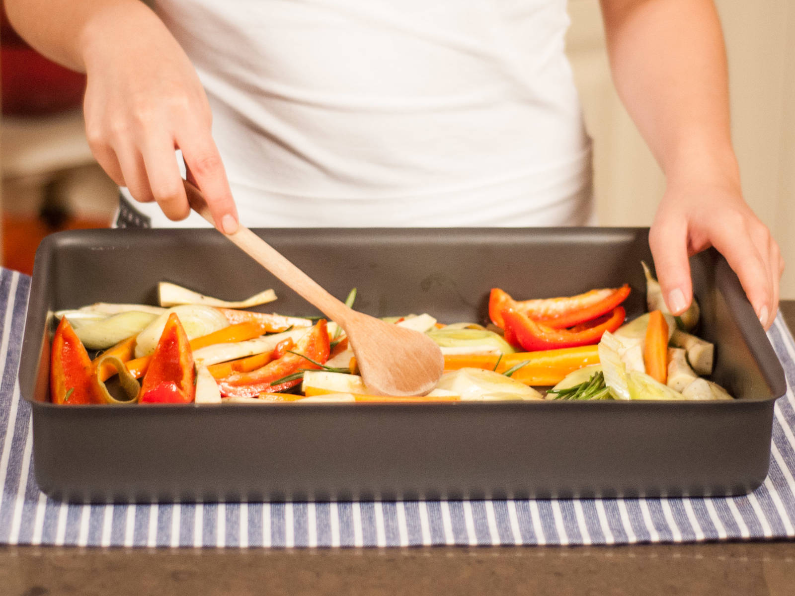 Transfer marinated vegetables to a casserole dish. Roast in a preheated oven at 220°C/425°F for approx. 20 – 30 min. until caramelized and tender. Enjoy with a main course or by itself.