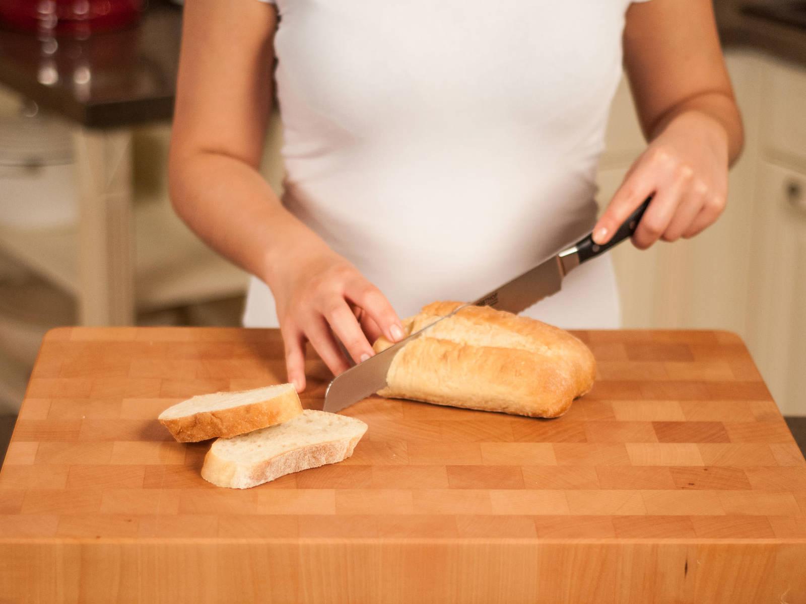 Cut ciabatta into slices.