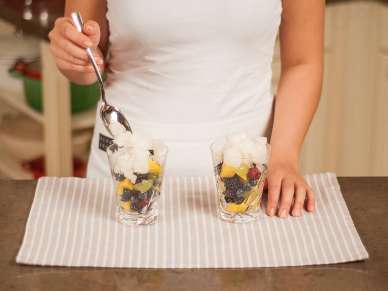 Fill serving glasses with fruit salad and top off with granita! Enjoy with your loved ones!