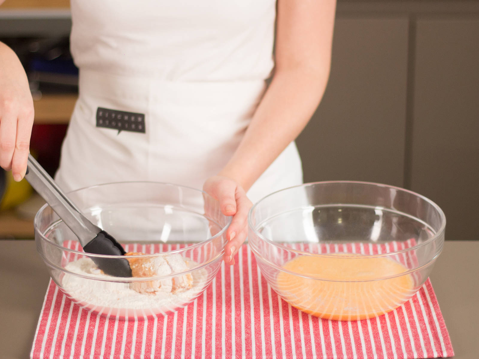Dip chicken pieces in the egg mixture until well coated on all sides. Lightly shake to remove excess liquid. Then dredge chicken in flour mixture until a thick and even crust is formed. Repeat these steps for a thicker crust if desired.