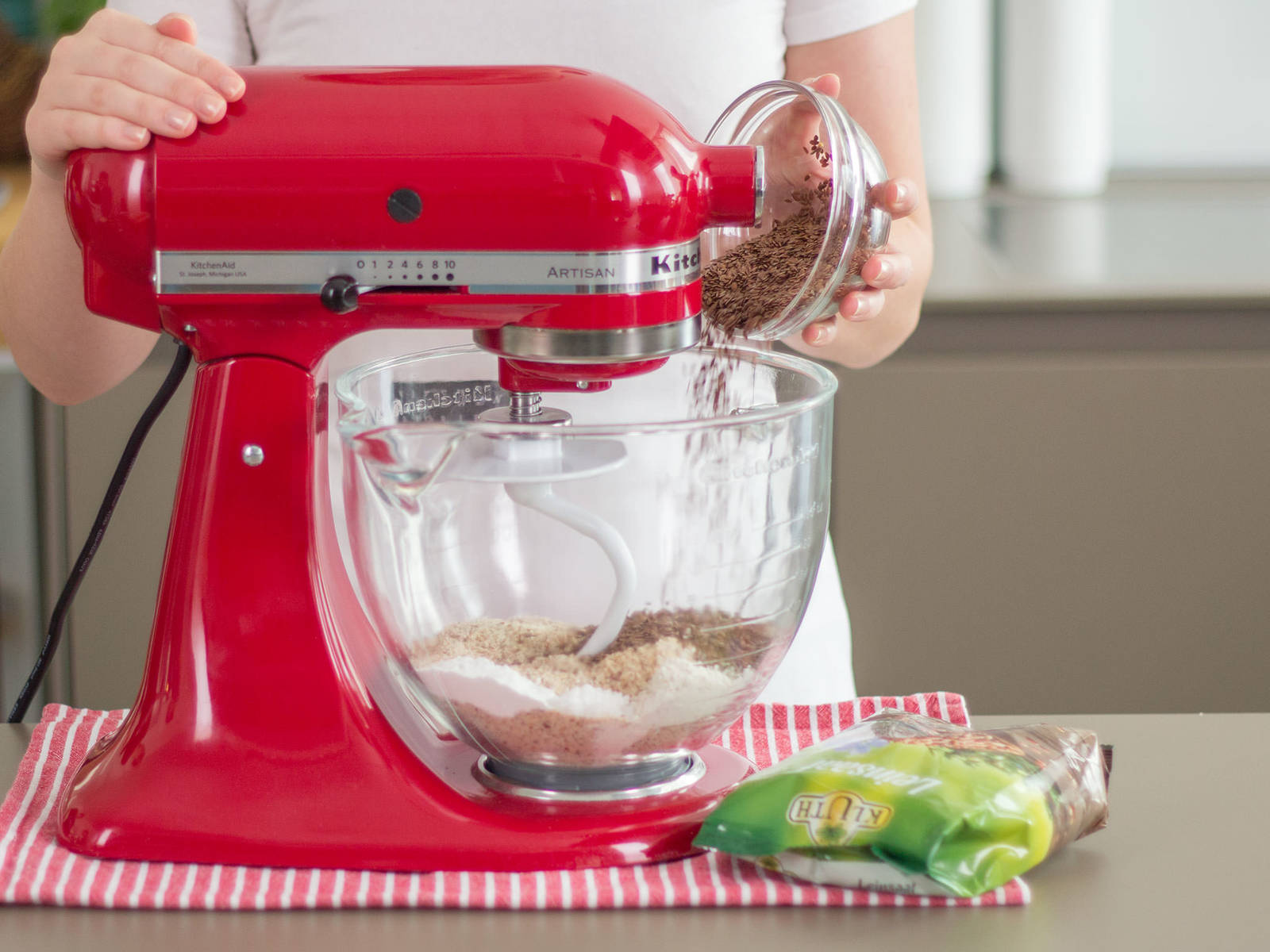 Preheat oven to 180°C/350°F. In a standing mixer, add buckwheat flour, wheat bran, ground almonds, flax seed, baking powder, and sea salt. Beat for approx. 1 – 2 min. to combine.