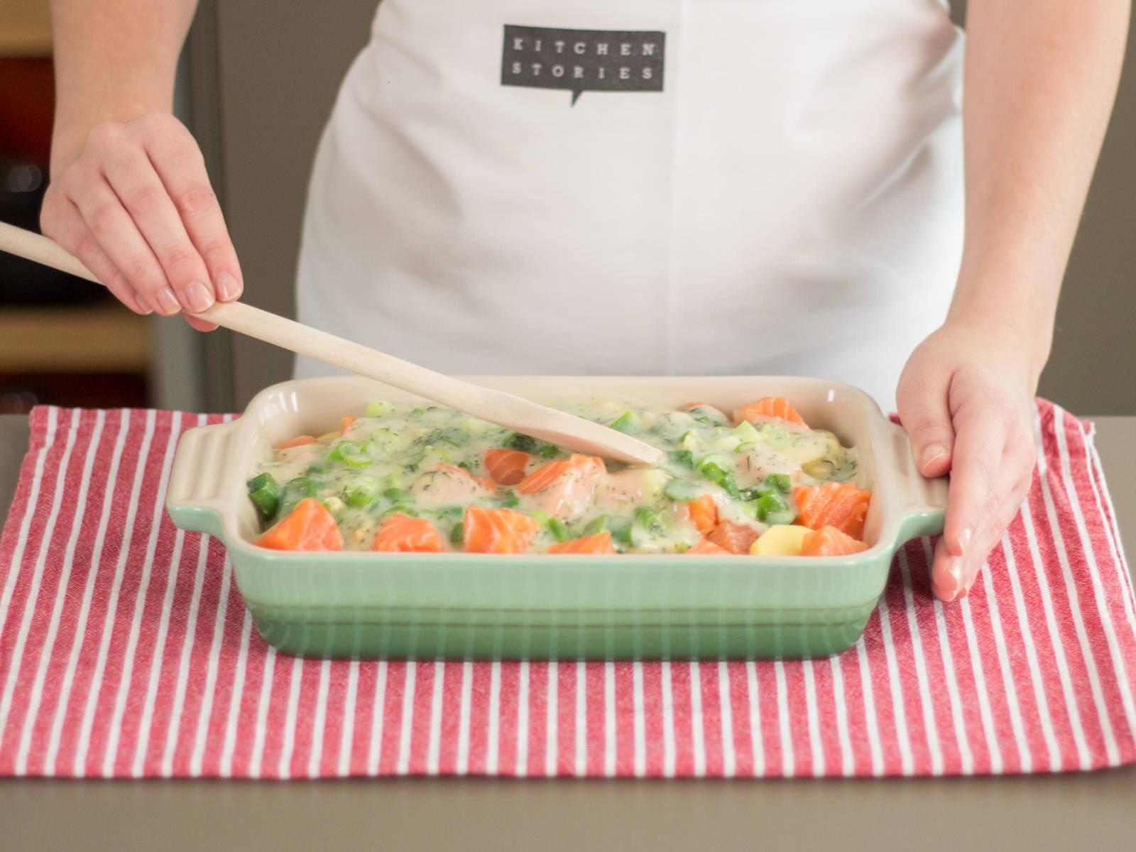 Alle Zutaten in eine ofenfeste Form geben, mit Salz und Pfeffer würzen und bei 200°C ca. 10 - 15 Min. in den Backofen geben. Guten Appetit!