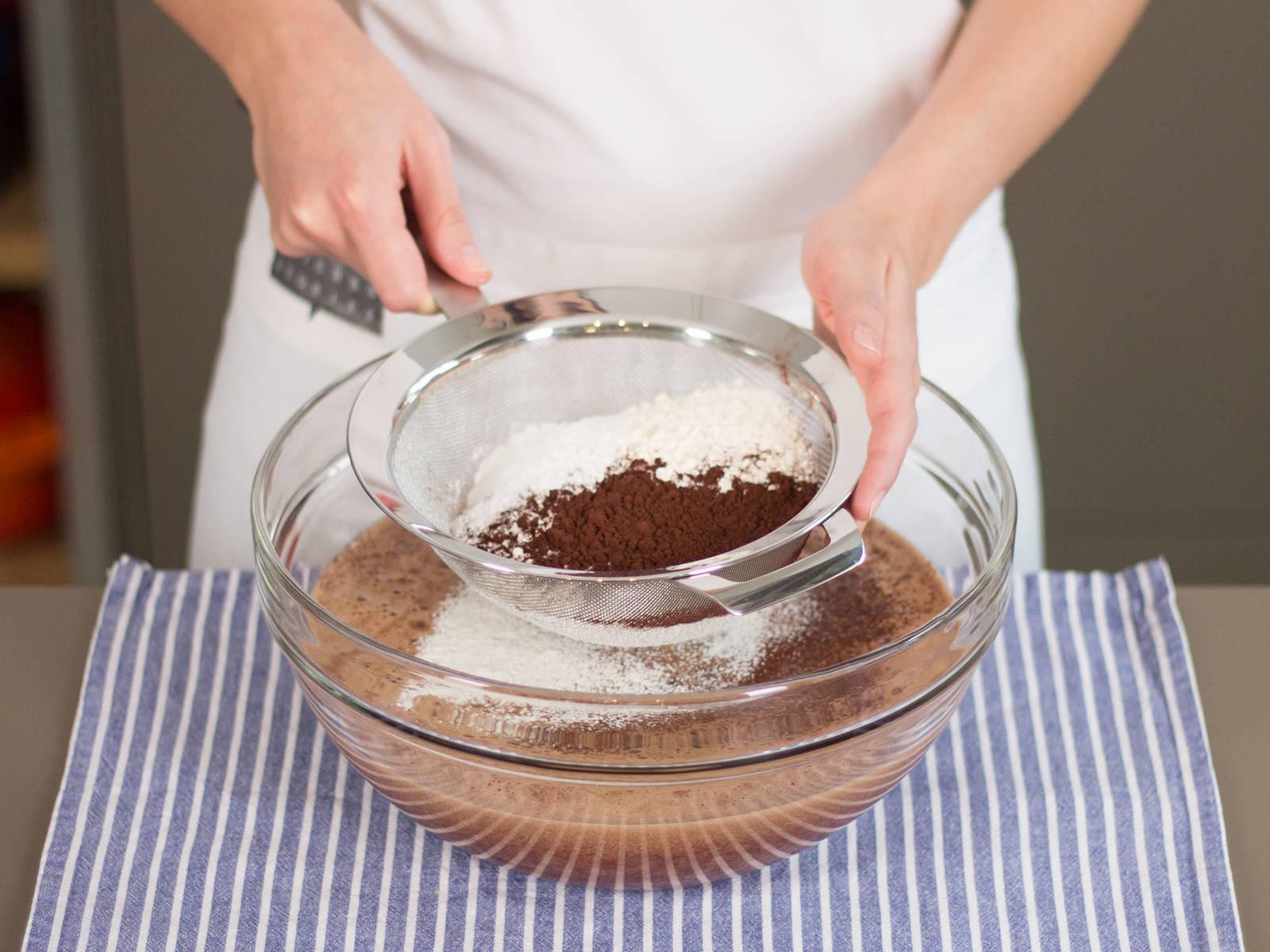 Sift flour, cocoa powder, baking powder, and salt into the dough. Stir to combine.