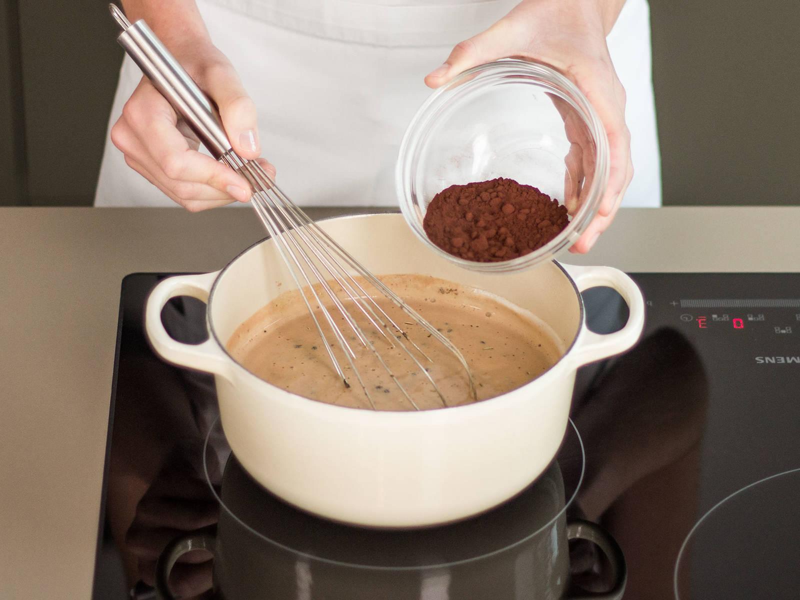 加入龙舌兰糖浆和可可粉。搅拌均匀。