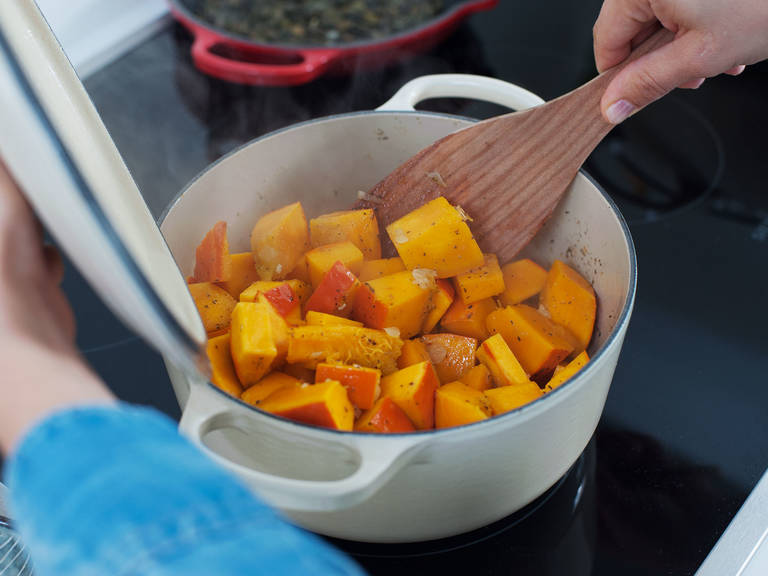 Add cubed pumpkin to pot and cook for another 3 – 4 min., stirring occasionally.
