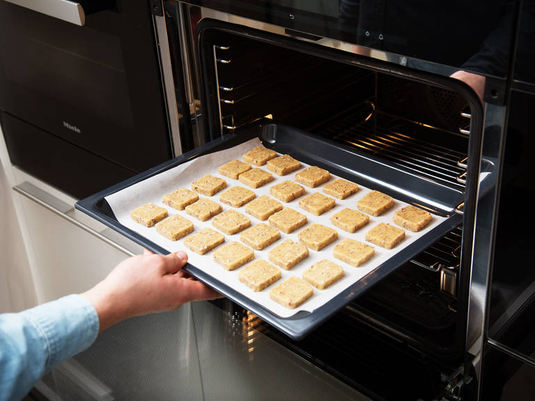 If the dough is too sticky to work with, freeze it briefly for approx. 6 – 8 min. Form a log and cut dough into desired shape, then place the shortbread on a lined baking tray. Bake at 160°C/325°F for approx. 12 min. Rotate the sheet and bake for another  10 – 13 min. Take the shortbread out, let cool, and enjoy!