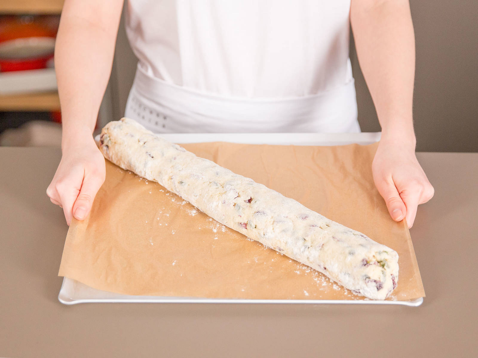 Transfer the log onto a lined baking tray and bake in a preheated oven at 200°C/ 390°F for approx. 20 - 30 min. until golden. Allow to cool for 30 min.