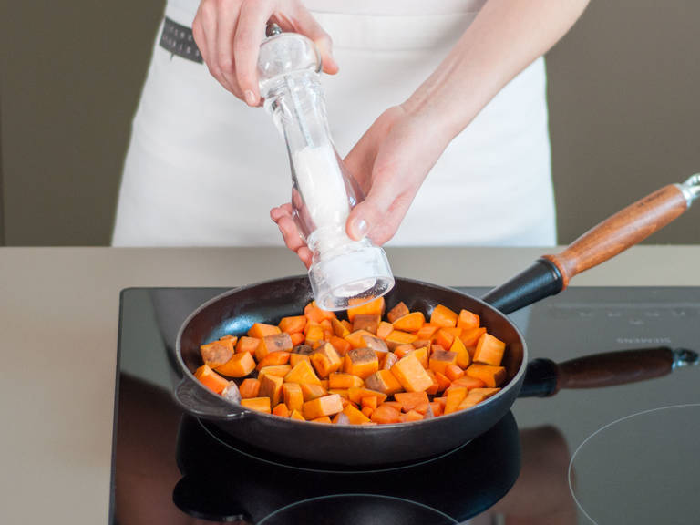 In a large frying pan, sauté sweet potato over medium-high heat for approx. 6 – 10 min. until golden brown and tender. Add carrots and sauté for approx. 3 – 5 min.