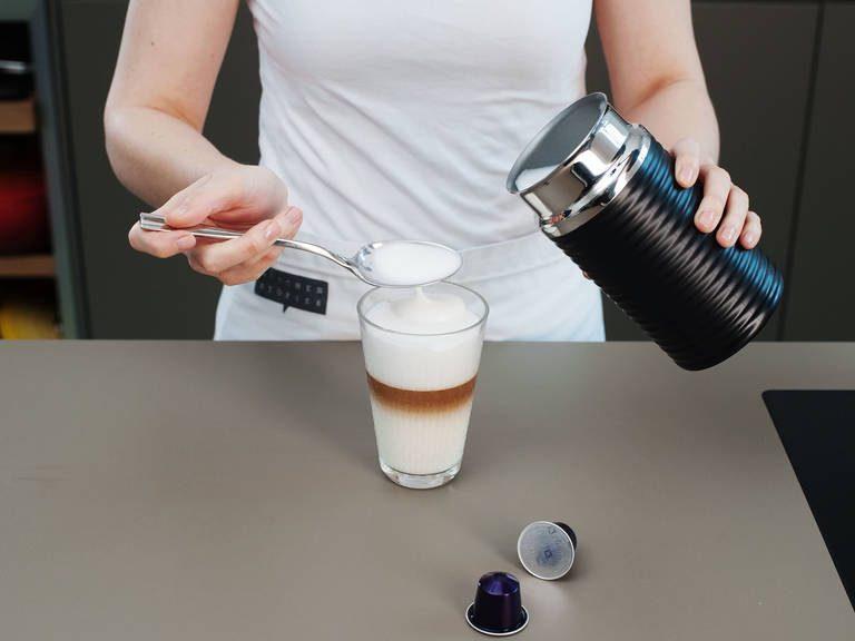 If you like more milk froth, just add some more milk to your Nespresso milk frother and top off your glass. Enjoy!