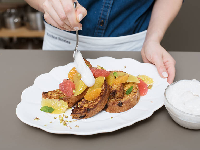 Serve French toast warm with yogurt and citrus fruits. Sprinkle with pistachios. Enjoy!