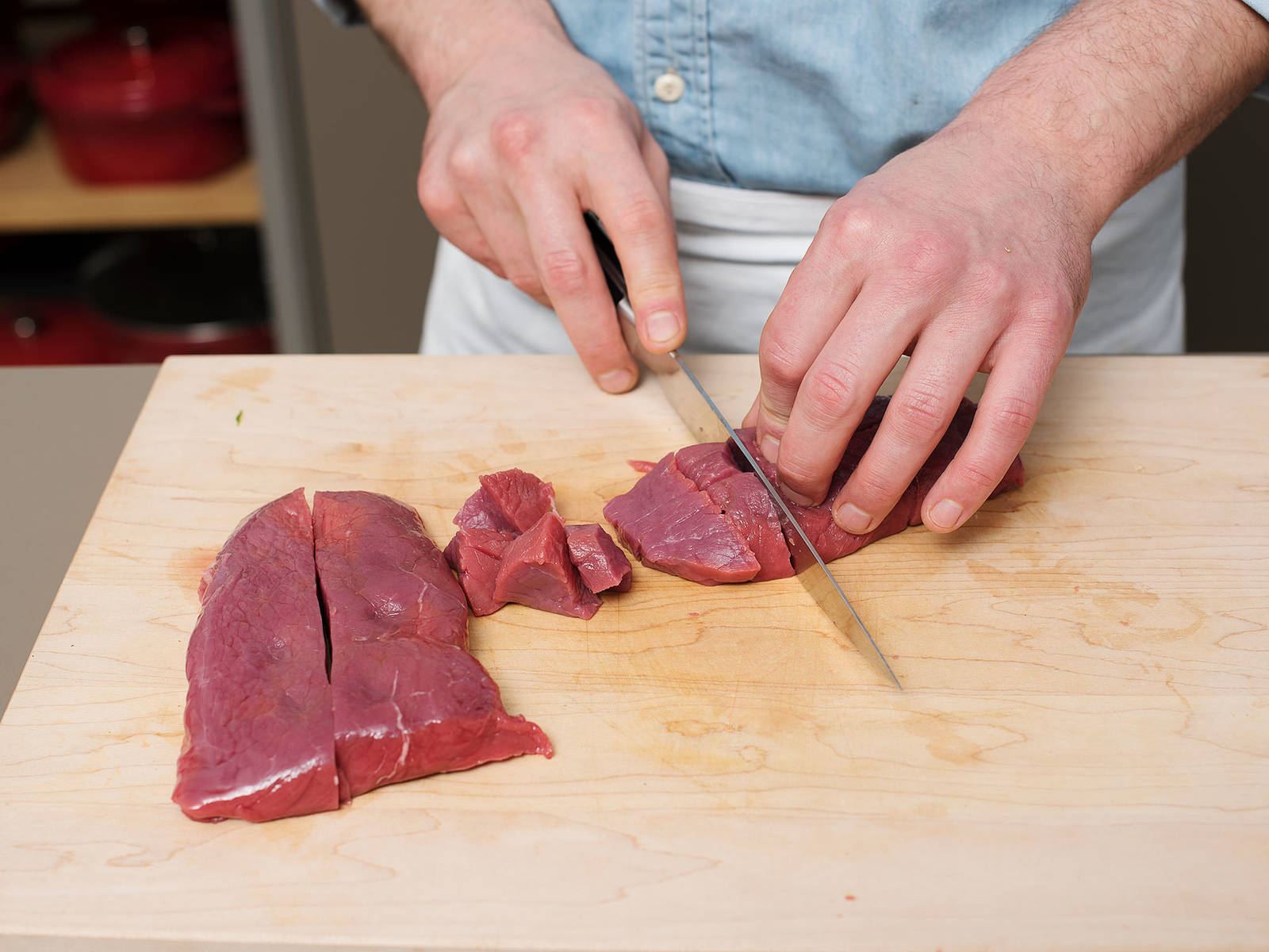 Cut chicken breast and beef into bite-sized pieces.