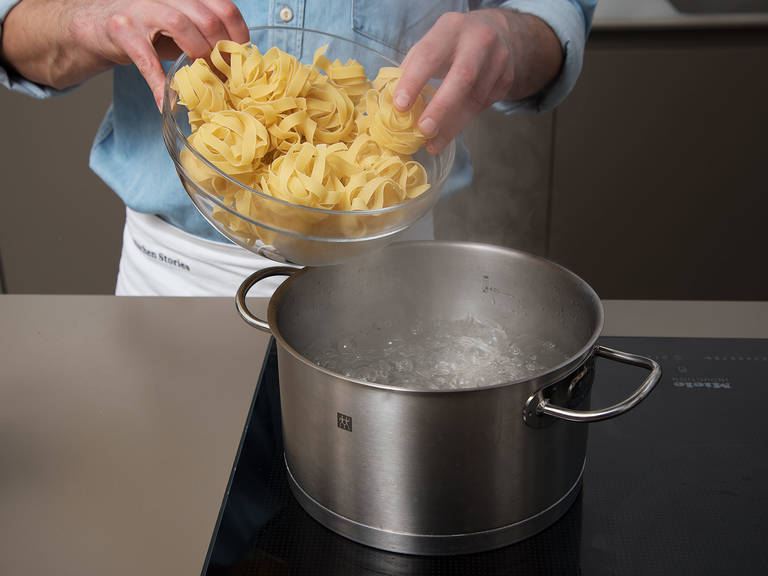 Add pasta to a large pot of salted water and cook until al dente, according to package instructions.
