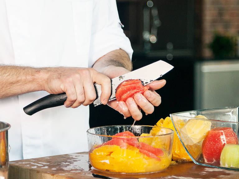 Peel oranges, grapefruits, limes, and lemon. Supreme citrus fruits, set the segments aside, and press out the juice from the remaining membranes. Add juice to a saucepan.