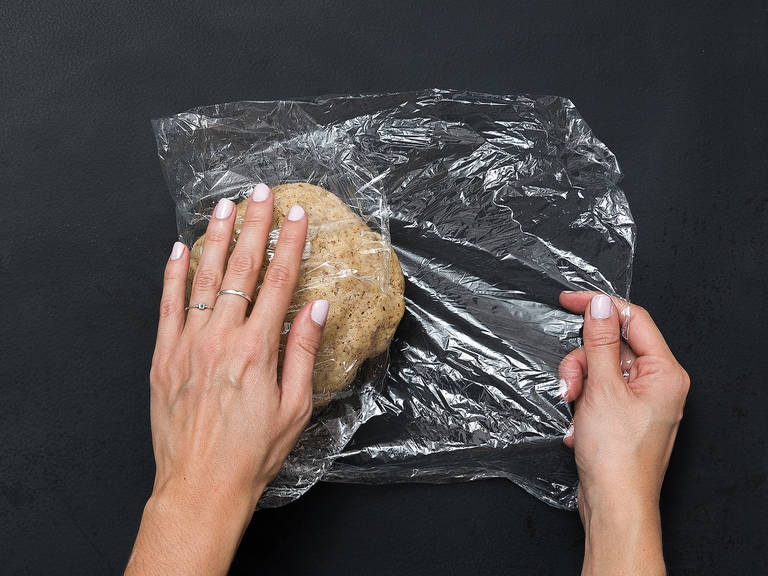 Form dough into a ball, wrap in plastic wrap, and place in the fridge for approx. 30 min.