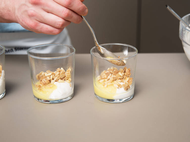 Mix quark with heavy cream, vanilla sugar, and remaining sugar in a large bowl. Equally distribute the cream in dessert cups. Layer the pineapple purée and the coconut mixture. Enjoy!