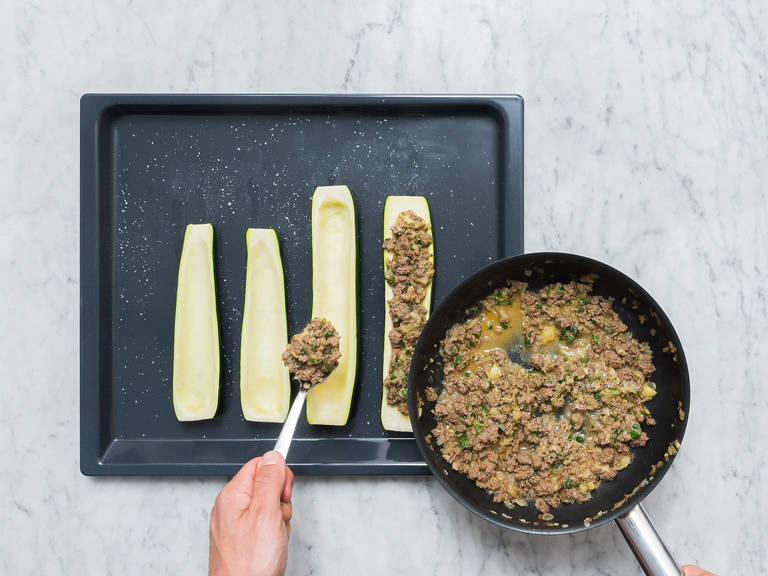 Fill beef-zucchini mixture into the halved zucchini and bake at 180°C/350°F for approx. 10 min. Serve with more fresh cilantro on top. Enjoy!