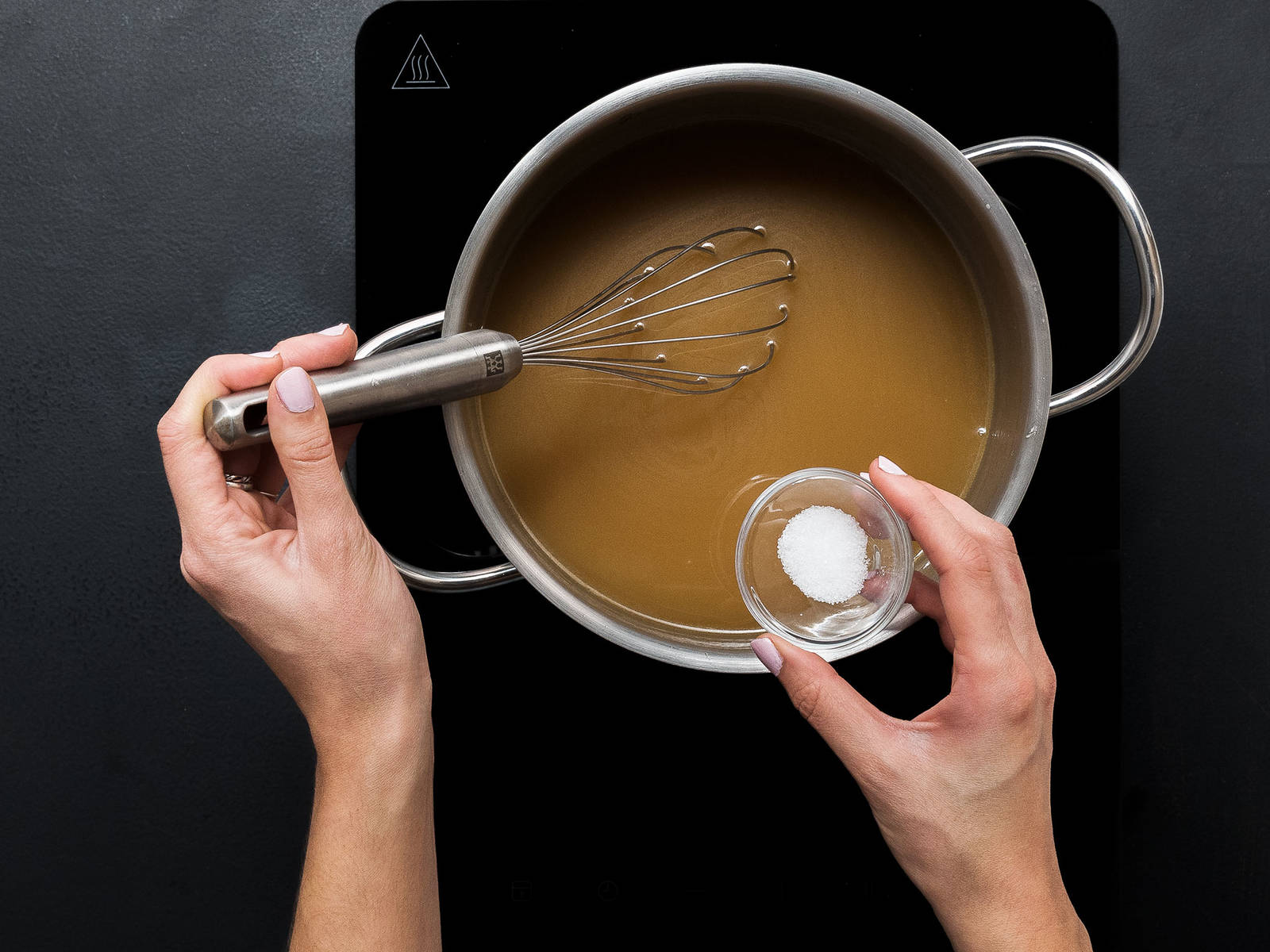 Add sugar, cane sugar, honey, and bourbon to a pot, bring to a boil and simmer for approx. 5 – 7 min. until the syrup thickens and browns. Remove the pot from heat.