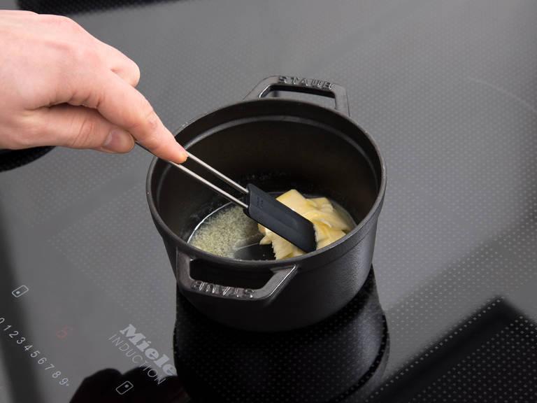 Melt butter in a small pot over medium heat.