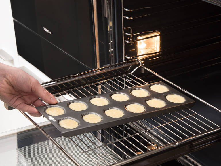 Reduce baking temperature to 170°C/350°F and bake madeleines for approx. 12 – 15 min. until golden brown. Dust with confectioner's sugar and enjoy!
