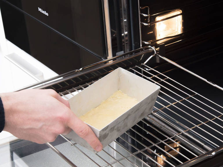 Pre-heat oven to 170°C/340°F. Remove dough from fridge and roll out to a thickness of approx. 5-mm/0.2-in. Transfer dough to the bottom of a parchment-lined loaf pan and trim off any excess. Bake for approx. 15 min.